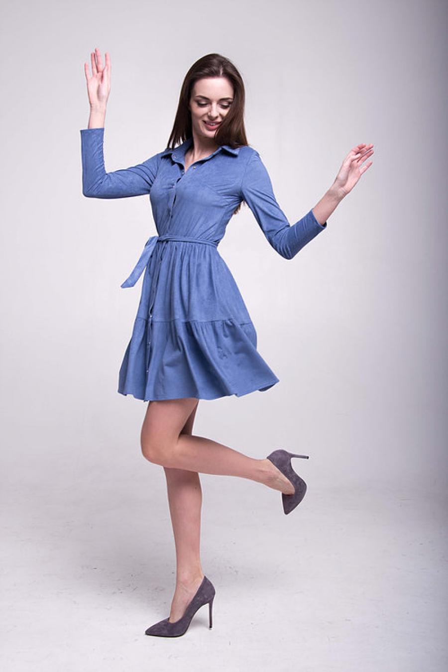 Платье с планкой цвета деним
