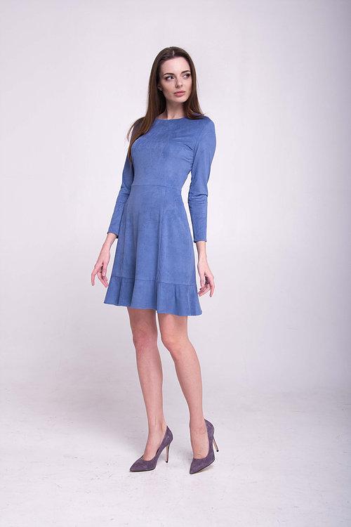Платье с воланом цвета деним