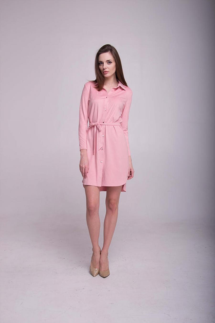 Платье-рубашка нежно-розовая
