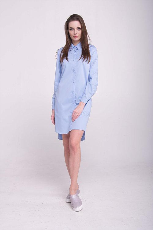 Платье-рубашка с карманами в боковых швах