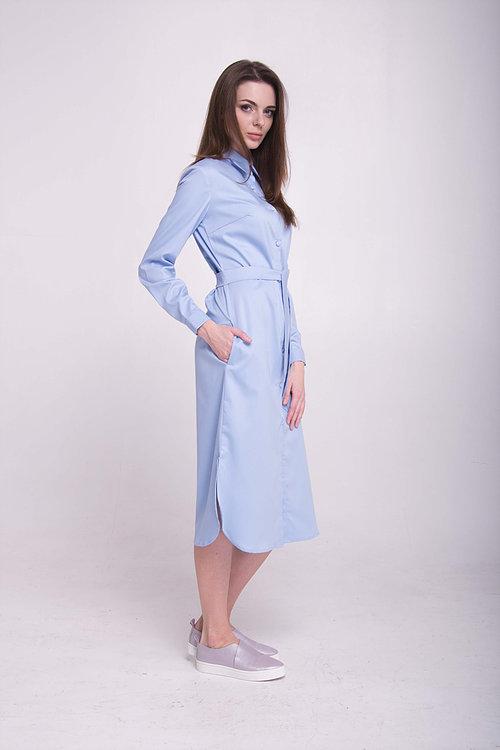 Платье-рубашка удлиненная голубая
