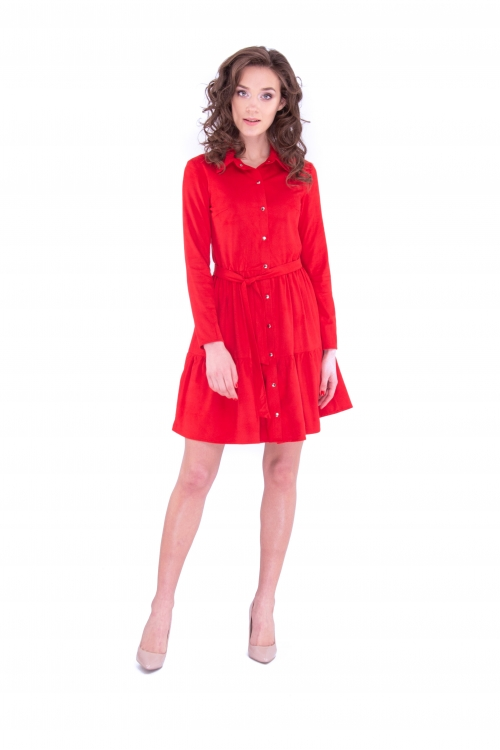 Платье с планкой  красного цвета