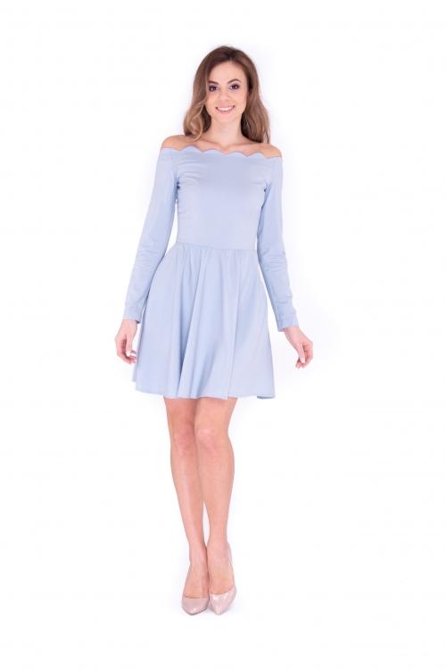 Платье с фистонным верхом голубое