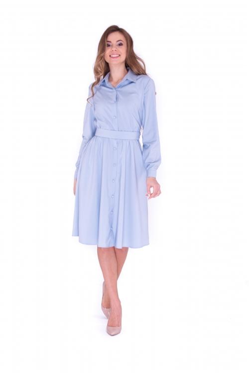Платье с рукавами и поясом