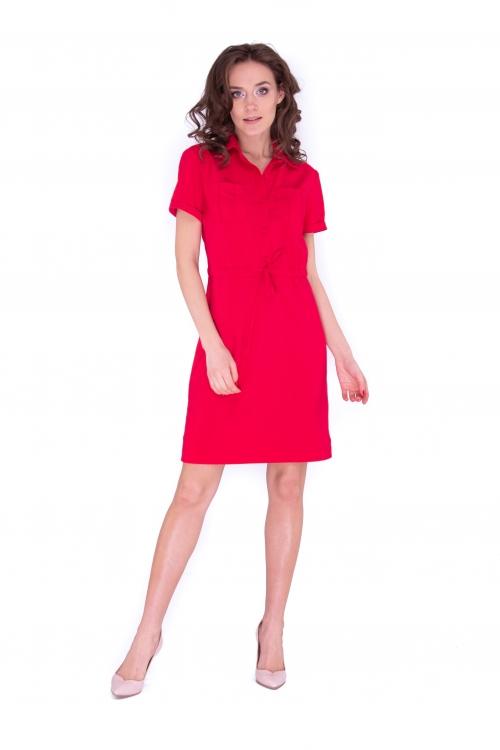 Платье с накладными карманами красное