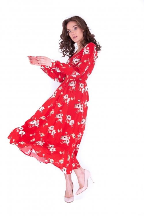 Платье с подрезом миди