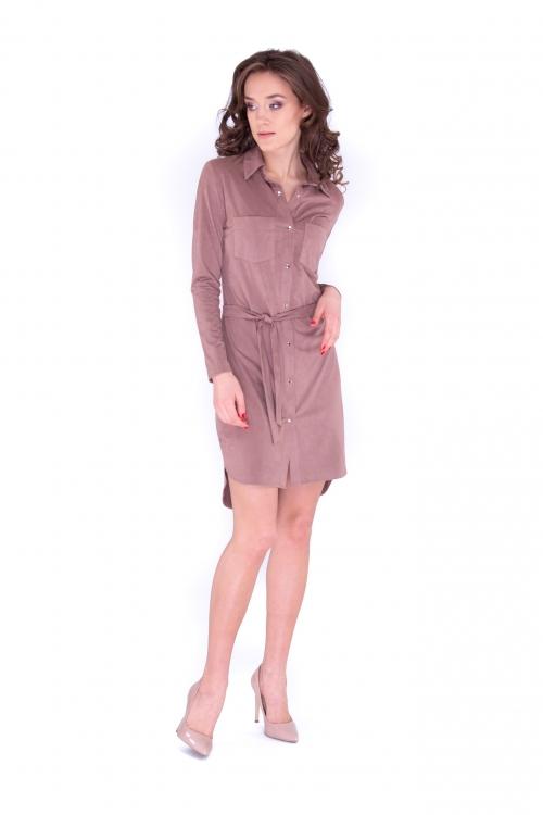 Платье-рубашка цвет какао