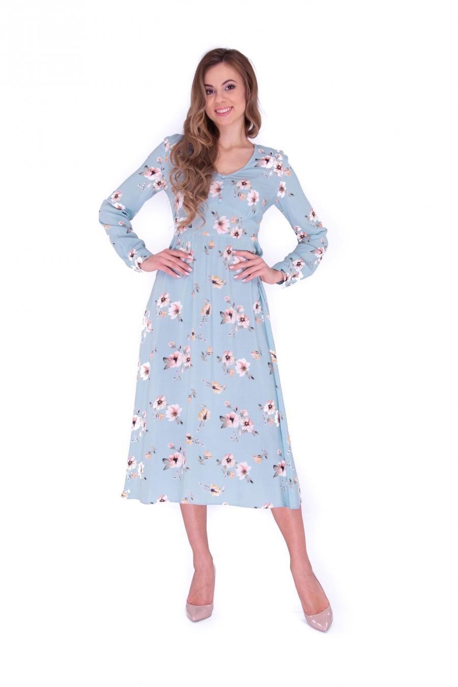 Платье с подрезом миди в цветы