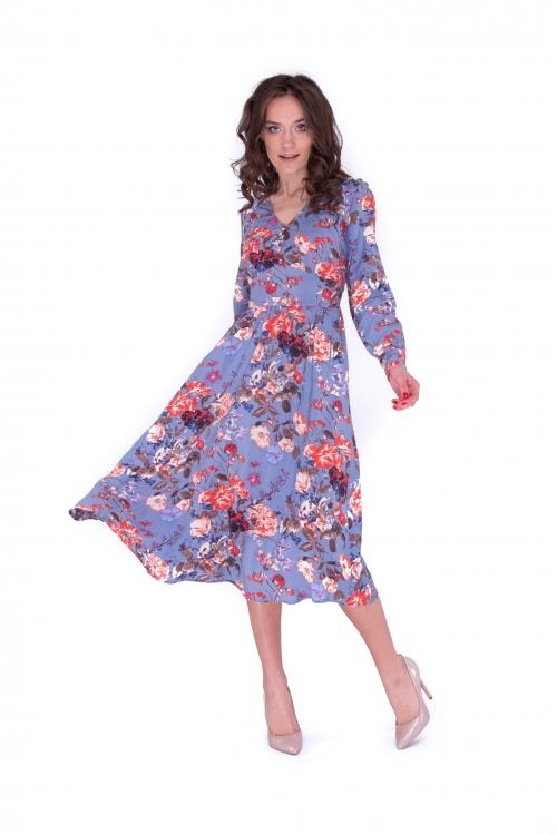 Платье с подрезом миди в цветы с рукавами