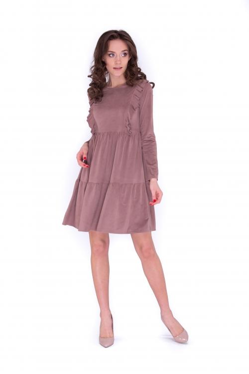 Платье с рюшами цвет какао