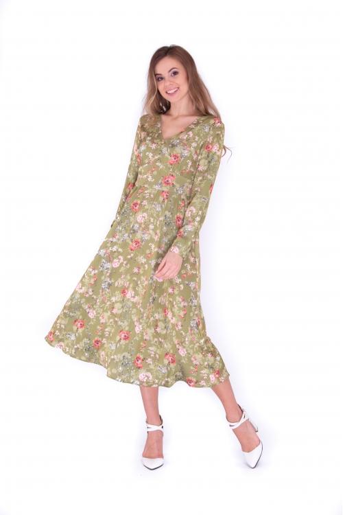 Платье с подрезом миди атласное