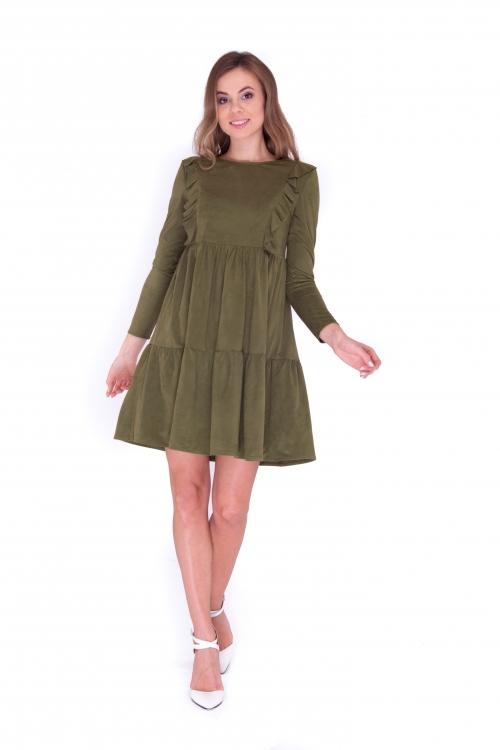 Платье с рюшами хаки