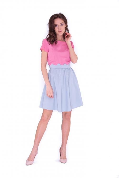 Платье с поясом зигзаг