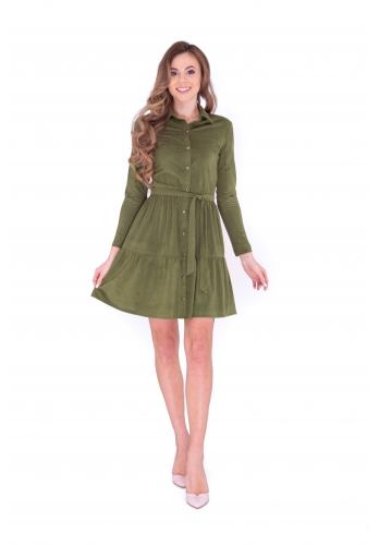 Платье с планкой  хаки