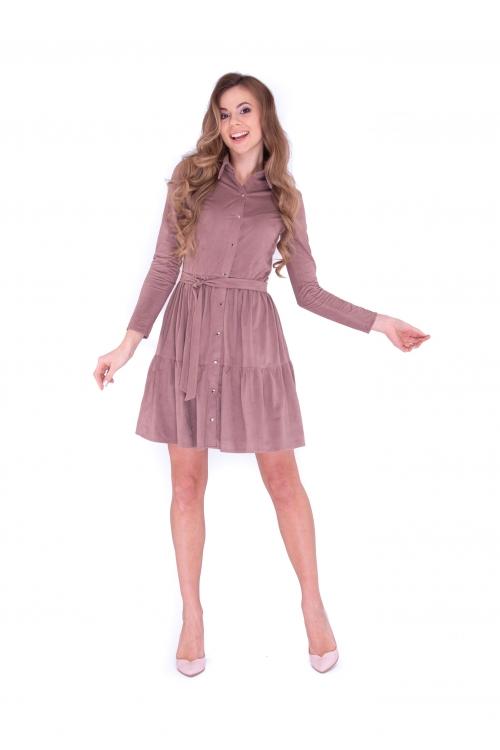 Платье с планкой цвет какао