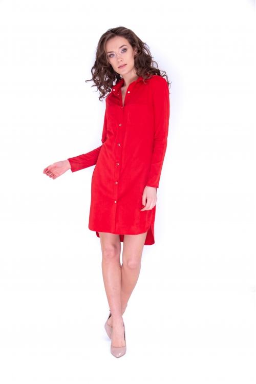 Платье-рубашка красного цвета