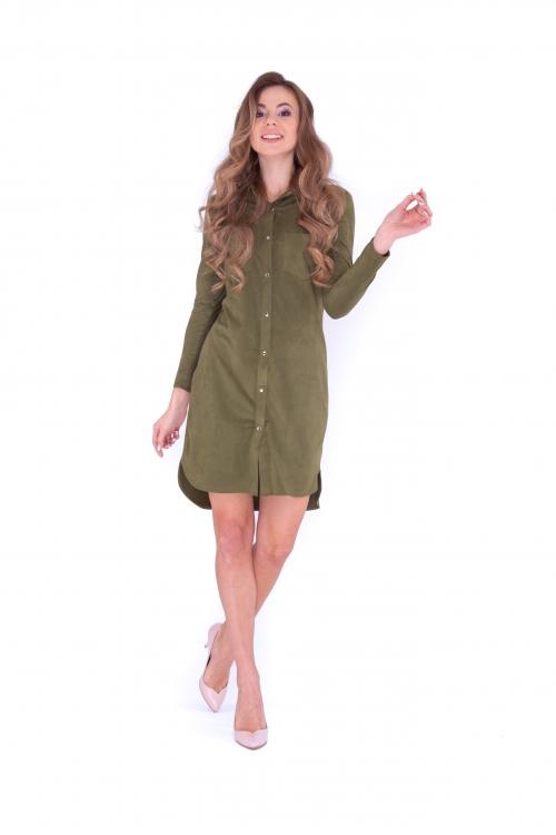 Платье-рубашка хаки